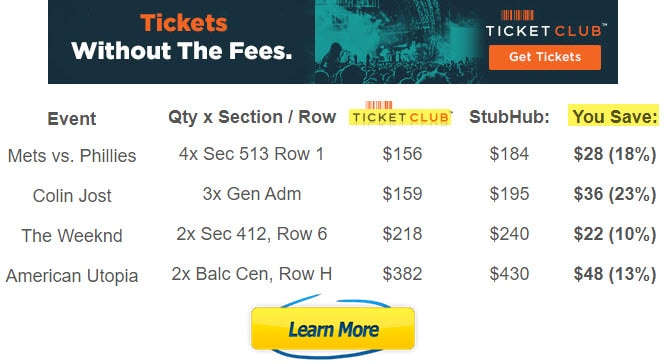 ticketclub reviews legit tickets with no fees