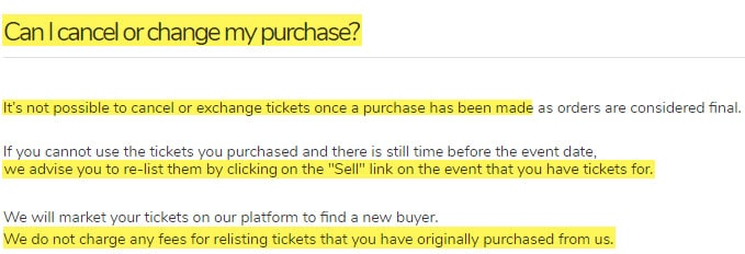 viagogo review can I cancel or change my purchase