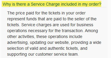 ticketcity why is there a service charge fees
