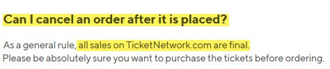 can I cancel my ticketnetwork order refunds