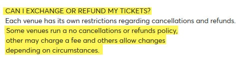 fromtheboxoffice can I exchange or refund my tickets