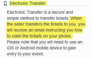ticketcitiy electronic transfer delivery