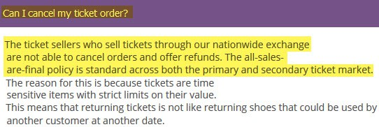 ticketliquidator reviews can I cancel return refunds