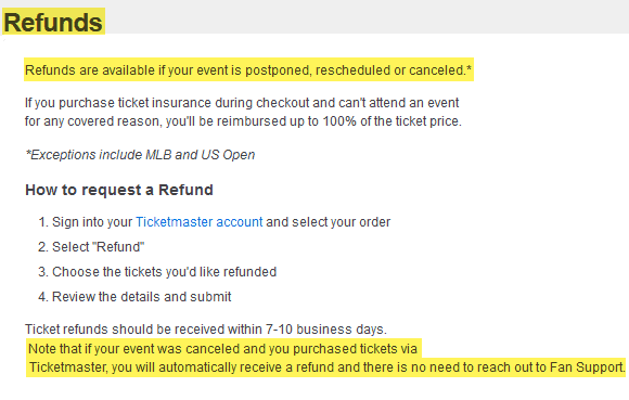ticketmaster review 2020 how to request refunds