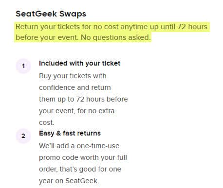 seatgeek reliable swaps how to return your tickets